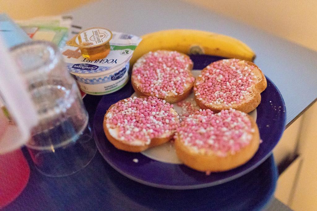 Beschuit met roze muisjes voor de ouders en geboortefotograaf Sandrinos uit Purmerend